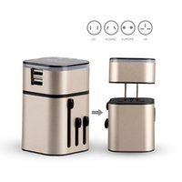 Wholesale MOCREO Universal World Travel Charger Adapter with Dual USB Ports World Wide All in one Detachable Travel ChargerWall Charger Champagne