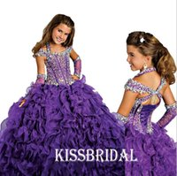 Wholesale 2016 Gorgeous Purple Ball Gown Pageant Gowns For Girls Beaded Halter Neck Lace up Back Organza Ruffles Floor length Flower Girls Dresses