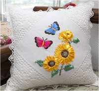 Wholesale 3D Sunflowers Ribbon Cross Stitch DIY Pillow Case For Women Ladies Girls Home Decors Bedroom Unfinished Stitching Christmas Birthday Gift