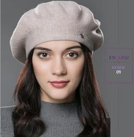 acrylic yarn brands - Lady beret hat for winter Knitted Cotton hats with lining brand new arrival good quality hat for women