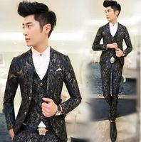 Wholesale New Fashion Party Asian Mens Floral Blazer Suit Jacket Slim Fit Suits For Men Blazer Designs Navy Red M XXL