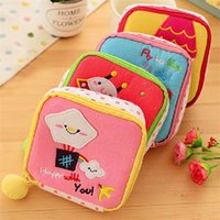 belted sanitary napkins - Cute cartoon art sanitary napkin bag cosmetics receive bag aunt girls large capacity change purse