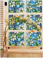 bathroom color paint - No glue cellophane European Art Painted PVC membrane electrostatic color orchid Window Film new European and American fashion