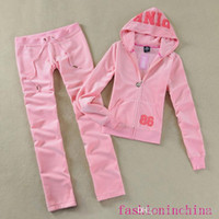 Wholesale Ladies Sweatsuits Long Sleeve Zipper Jogging Velour Tracksuits Pink Sweat Suits Hoodies Suits Sportswear Sports Set