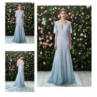 baby dreses - Vintage Baby Blue V Neck Wedding Dresses Lace Applique Ruched Short Sleeves Open V Backless Bridal Gowns Sweep Train Mermaid Bridal Dreses