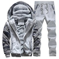 Wholesale Casual Baseball Sweater - Winter Men Long-Sleeved Sweater Suits Thick Warm Jogging Clothing Casual Camouflage Tide Coat Fashion Velvet Baseball Clothing