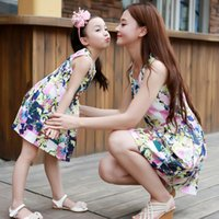 Wholesale New Summer Mum Girl Clothes Mother And Daughter Family Dress Big Bowknot Lace Gauze Flower Sumdress Flowers Dresses Dress Party Dressy A5445