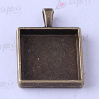 Wholesale Square base charms antique Silver bronze zinc alloy Pendant DIY jewelry pendant fit Necklace z