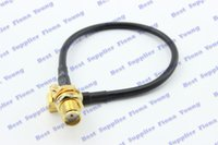 Wholesale MCX Plug Right Angle to SMA Jack Straight Bulkhead Connector RG174 Extension Pigtail Cable cm