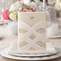 Wholesale 2016 New Red Ivory Hollow Lace Wedding Party Invitations Cheap In Stock Laser Cut Wedding Cards with Free Envelope Pieces CPA558