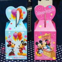 Favor Boxes baby boy gift box - 100pcs Cartoon Mickey mouse Baby Shower Favors Box Candy Gift Box Birthday Party Decorations Boy Girl Kids Event Party Supplies