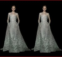 Wholesale 2016 Elie Saab Romantic Lace Evening Dress Jewel Neck Long Sleeves A Line Floor Length Beaded Appliqued Sheer Prom Dress Red Carpet Gown