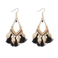 Wholesale Europe and the United States big metal leaf National wind Sue long earrings