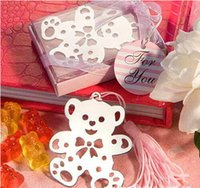 Yes 9*7.2*2cm 25g DHL free shipping wedding favors baby shower gifts stainless steel little cute bear bookmark with tassel in gift box