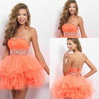 Wholesale Sexy Mini Dresses China - Orange Party Wear Cheap Short Mini Gown For Girls Crystals Beadings Strapless Neck Cheap Price Hot Sale Fahion In China Beautiful Lace Up