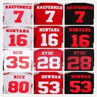 best yellow rice - Best quality jersey Kaepernick Montana Hyde Reid Bowman Rice elite jerseys Size