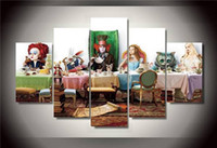 alice in wonderland decor - Hd Printed Alice In Wonderland Group Painting Canvas Print Room Decor Print Poster Picture Canvas Ny NO Framed