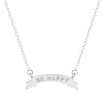 bar banners - 1pcs New Design Gold Silver Engraved Be Happy Mini Banner Bar Motivational Chain Necklace necklaces pendants for women