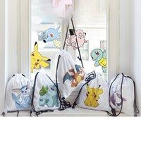 Wholesale 2016 New Fashion Digital Printing Cartoon Poke Pikachu Eevee Chairzard Simple Backpack Shoulders Bag Cute Drawstring Bags Travel Bags XL P92