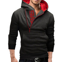 assassins creed hoodie - Men s Clothing Letters of bump color man fleece side zipper Hoodies Sweatshirts Jacket Sweater Assassins creed Size M XL