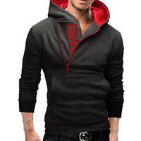 al por mayor jacket 6xl-Ropa de hombres cartas de protuberancia del hombre de color de lana cremallera lateral de los Hoodies de la chaqueta del suéter de Assassins Creed tamaño M-6XL