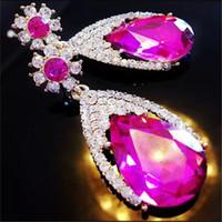 Wholesale Women Lady Elegant Water Drop Shape Rhinestone Earring Stud Fahsion Earrings Party Jewelry Earrings Valentine Gift Colors