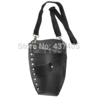 Wholesale Professional Leather Rivet Clips Bag Salon Scissors Hairdressing Holster Pouch Holder Case Black case ipod touch