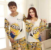 Wholesale Spring Autumn Pyjamas Women Men lovers home clothing couples minions onesie pijama mujer femme pyjama minion pajamas sets