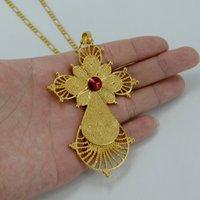 africa red cross - 3 COLOR STONE Ethiopian Big Cross Pendant Necklaces K Gold Plated Eritrea Jewelry Africa Ethnic Religious Crosses