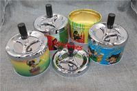 Wholesale 12pcs to USA UK Germany NEW Universal Creative aluminium Ashtray metal Rotation Pressed Ashtray Fashion Furnishings Household