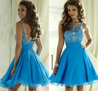 Cheap Cute Blue Crystal Short Dresses Homecoming 2016 Bateau Beading Backless Corset Chiffon 8th Grade Graduation Gown Cocktail Junior Prom Wear