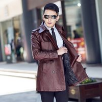 Wholesale Gentleman demeanor urban fashion aristocrats classic long leather trench coat in autumn and winter