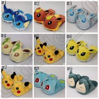 Wholesale Poke mon Go Soft Plush Slippers Pikachu Gengar Snorlax Warm Indoor Home Shoes Cartoon Costume Gift LJJO880