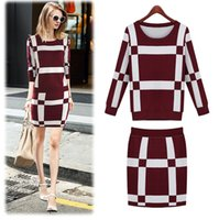 Wholesale New autumn plus size loose suit long sleeve package buttocks sweater dress suits sweater dress street dress