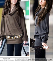 Wholesale CHIC HOT LADY TURTLENECK BATWING SLEEVE LOOSE LONG SLEEVE TOP slim hot sell free size