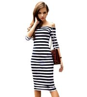 Wholesale Women Summer Pencil Dress Sexy Off The Shoulder Knee Length Striped Half Sleeve Bodycon vestidos