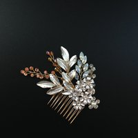 bridal hair ornament - Gold Leaf Wedding Hair Comb Crystal Beaded Floral Bridal Headpiece Women Hair Ornaments Wedding Hair Accessories