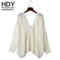 backing up computer - HDY Apparel Lace Up Back Oversize Bat Knitted Top Sexy V neck Backless Loose Sweater Long Sleeve Cross back Casual Jumpers Women Clothes