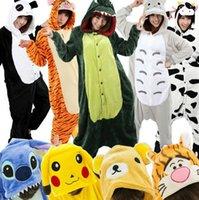Wholesale Pikachu Panda Stitch Ahri Adults Pajamas Pyjamas Anime Cosplay Costumes Adult Cartoon Animal Onesies Sleepwear Cheep One Piece