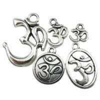 aum symbol - 5PCS MIX Vintage Silver Alloy Faith Indian Symbol Yoga Om Aum Pendant Findings