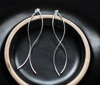 Wholesale Original manual female curving silver earrings ears line