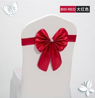Wholesale New Hot Sale Chair Bands Sashes Satin Bows Wedding Banquet Birthday Party Chair Decoration with Multi Colors