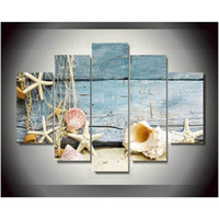 beach prints posters - Plane Canvas Printings Seashells Starfishes Beach Painting Wall Art Home Decoration Poster Canvas Unframed