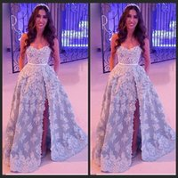 arabian party - Arabian Young Blue Lace Sweetheart Appliqued Side Silt Long Prom Dresses oscar Cheap Evening Formal Party Gowns