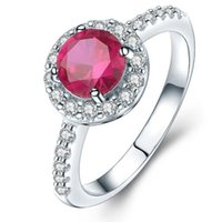 Wholesale new arrival fashion jewelry natural red ruby rings made in Titanium plated with real white gold with promotion price