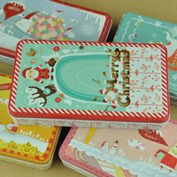 Wholesale Christmas Style Tin Box Metal Storage Box Jewelry Case Candy Box Christmas gift case postcard