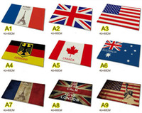 Wholesale 9 desighs Flannel anti skid carpet cm Australia USA UK Germany Canada Flag Doormat Flag Bedroom Carpet Flag Mats Door Rug