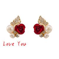 Wholesale Luxury Mother Pearl Fashion - Hot Sale Vintage Pearl Crystal Stud Earrings Luxury Women Red Flower Earrings New Fashion Elegant Jewelry for Party Accessories Bijoux Femme