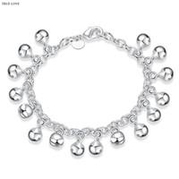 al por mayor pulsera de cascabeles-Campana de pulsera plateado 925 joyas de moda hermosa plata de regalo de cumpleaños mujer brazaletes tintineantes caliente del envío libre