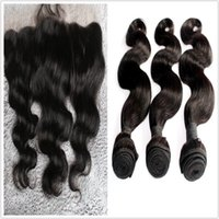 Wholesale bundles with lace frontal human hair weaves with closure freestyle lace closures body wave Brazilian hair natural color